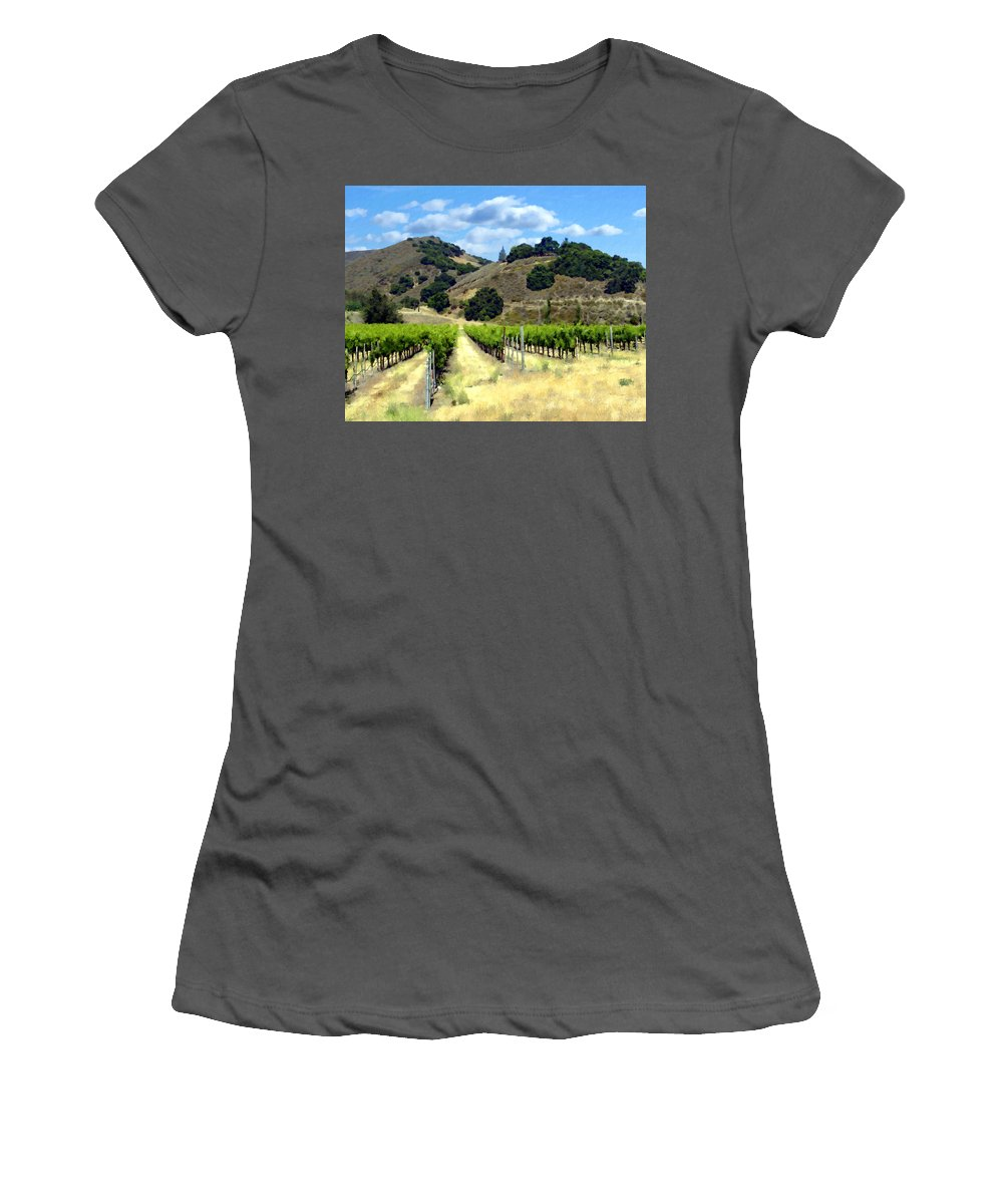 Vineyards Women's T-Shirt (Athletic Fit) featuring the photograph Morning At Mosby Vineyards by Kurt Van Wagner