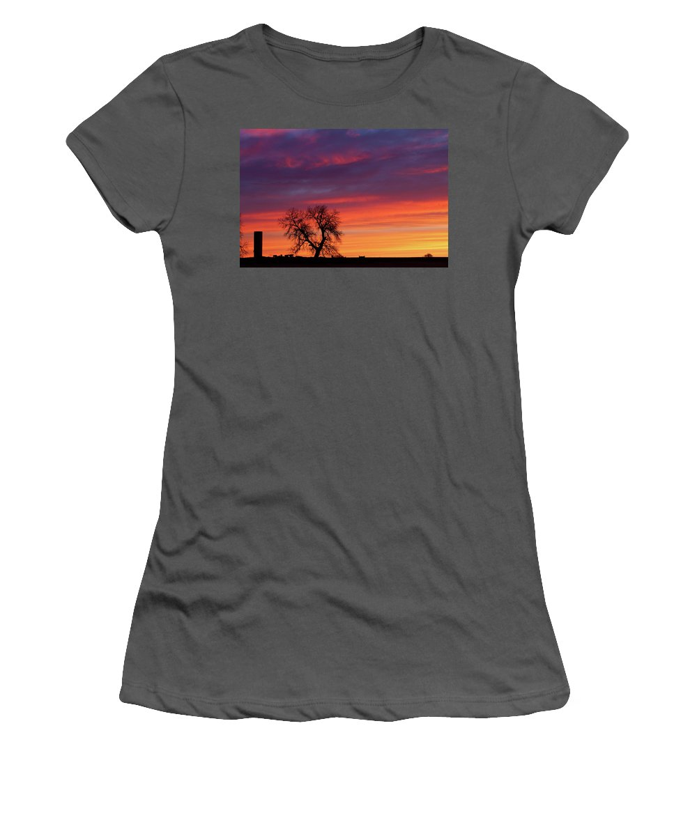 Country Prints Women's T-Shirt (Athletic Fit) featuring the photograph Morning Country Sky by James BO Insogna