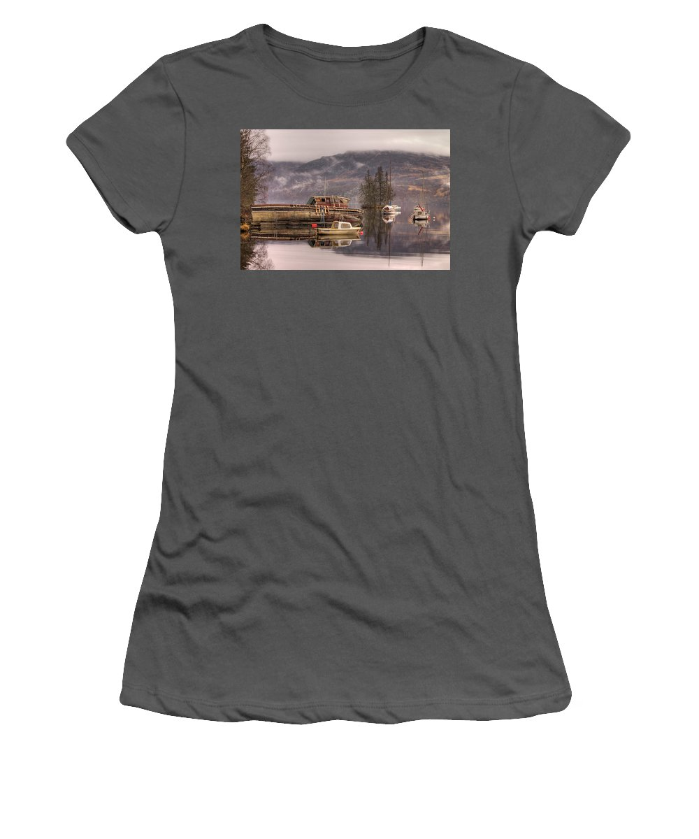 Reflections Women's T-Shirt (Athletic Fit) featuring the photograph Morning Reflections Of Loch Ness by Ian Middleton