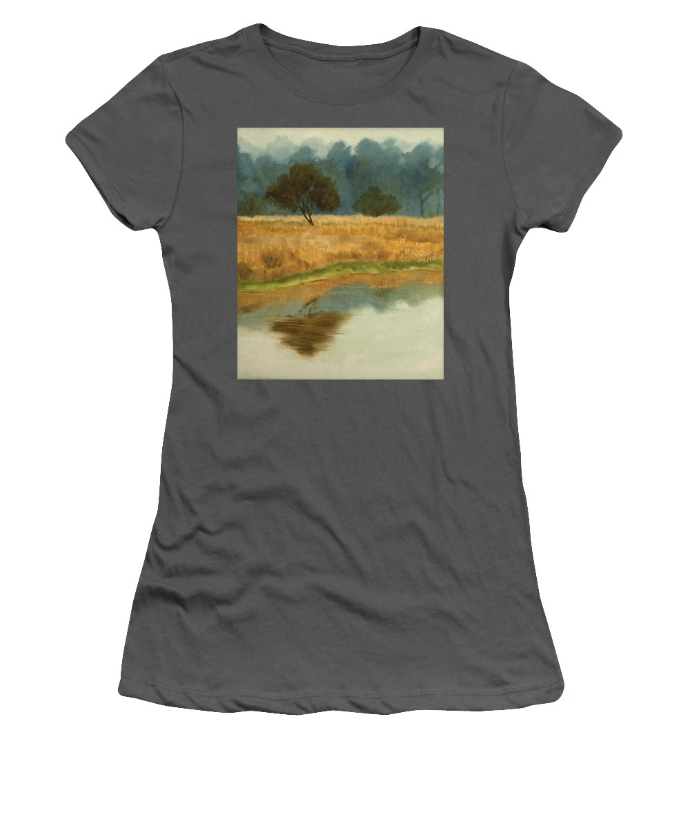 Landscape Women's T-Shirt (Athletic Fit) featuring the painting Morning Still by Mandar Marathe