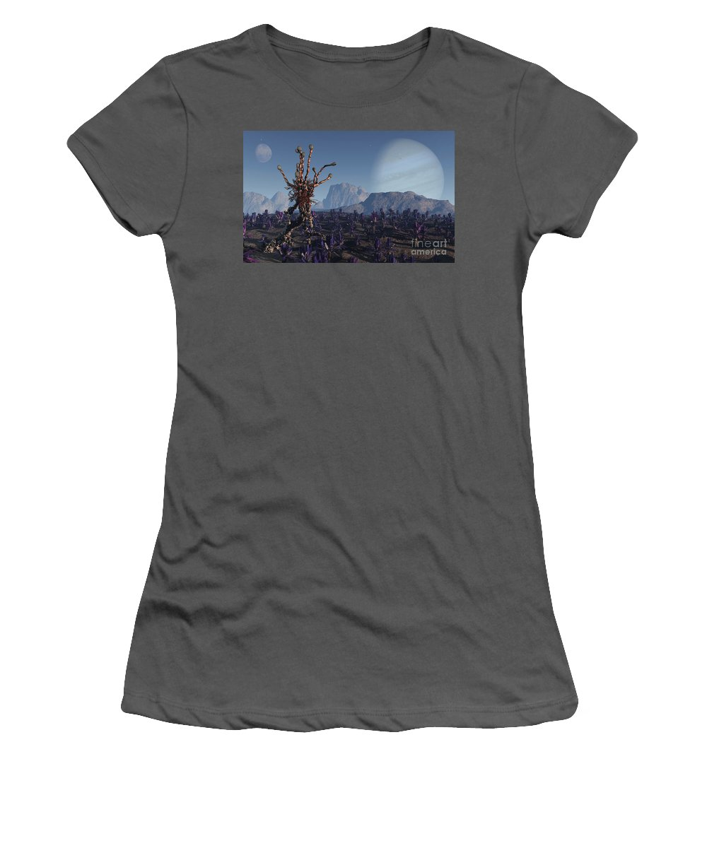 Alien Women's T-Shirt (Athletic Fit) featuring the digital art Morning Stroll by Richard Rizzo