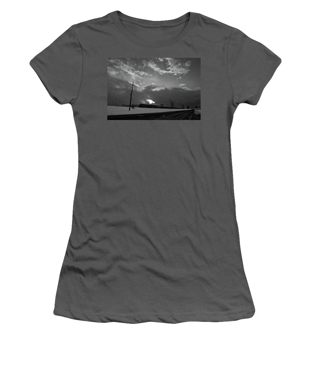 Seshat Women's T-Shirt (Athletic Fit) featuring the photograph Morning Train In Black And White by Scott Sawyer