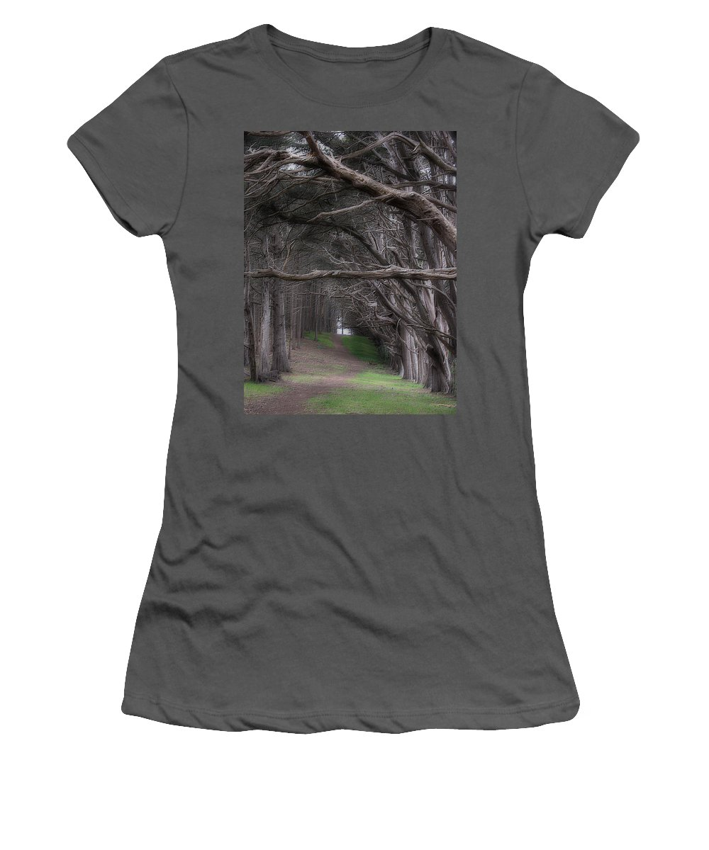 Landscape Women's T-Shirt (Athletic Fit) featuring the photograph Moss Beach Trees 4191 by Karen W Meyer