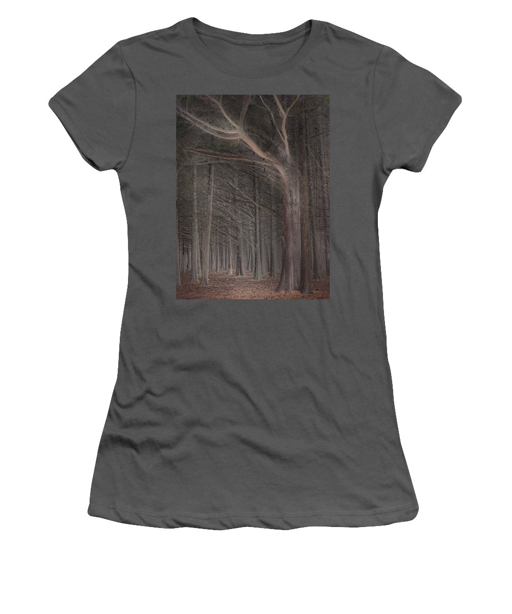 Landscapes Women's T-Shirt (Athletic Fit) featuring the photograph Moss Beach Trees by Karen W Meyer