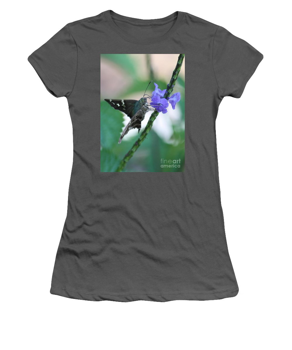 Nature Women's T-Shirt (Athletic Fit) featuring the photograph Moth On Blue Flower by Carol Groenen