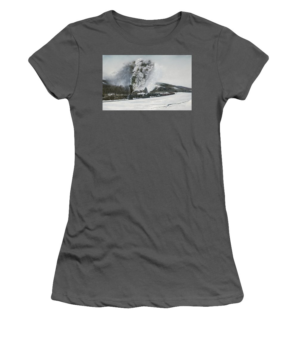 Trains Women's T-Shirt (Athletic Fit) featuring the painting Mount Carmel Eruption by David Mittner