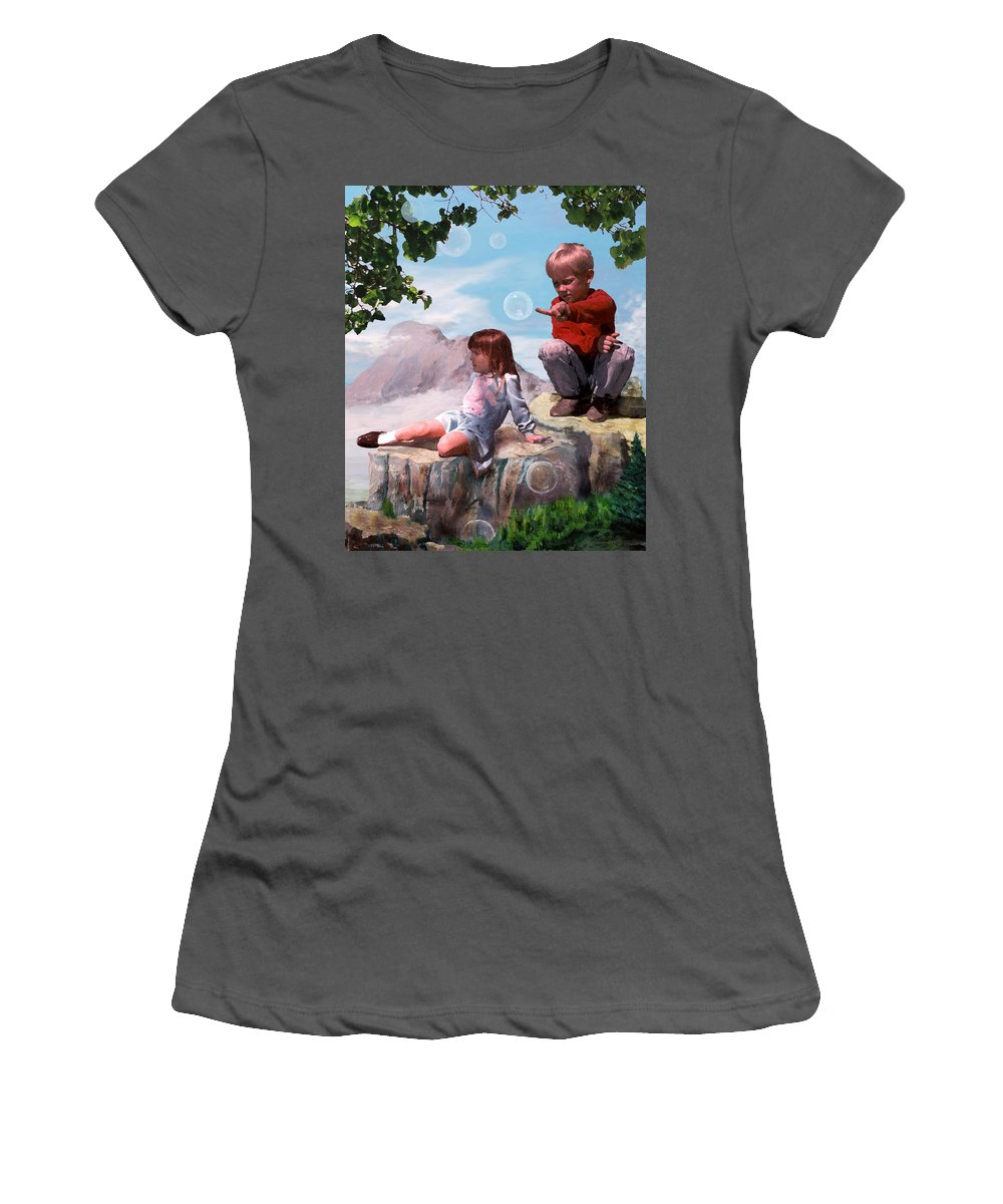 Landscape Women's T-Shirt (Athletic Fit) featuring the painting Mount Innocence by Steve Karol
