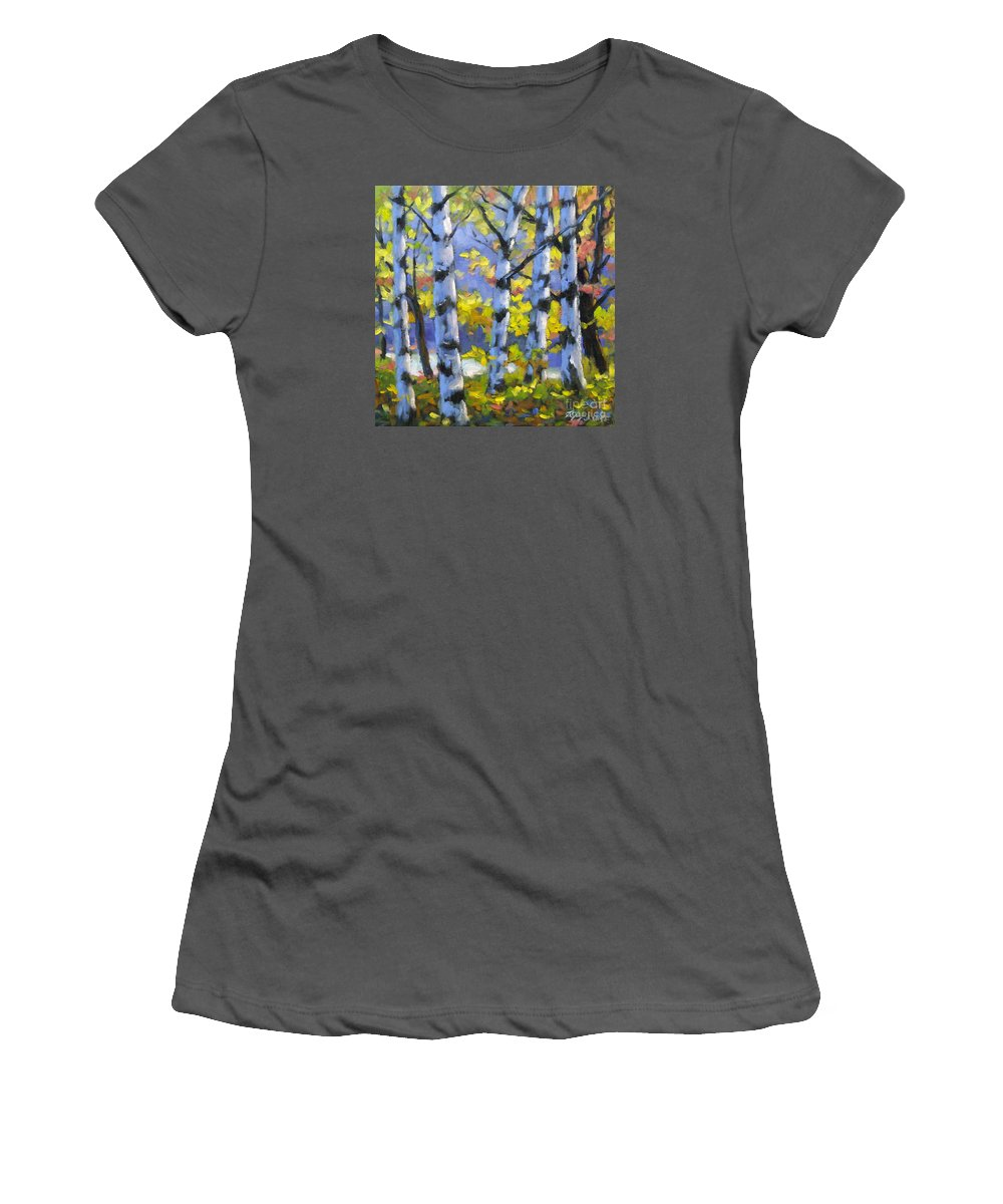 Art Women's T-Shirt (Athletic Fit) featuring the painting Mountain View by Richard T Pranke