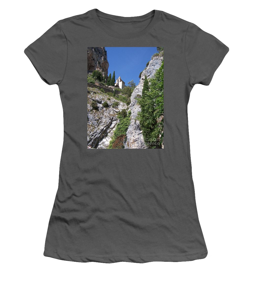 Church Women's T-Shirt (Athletic Fit) featuring the photograph Moustier St. Marie Church by Nadine Rippelmeyer