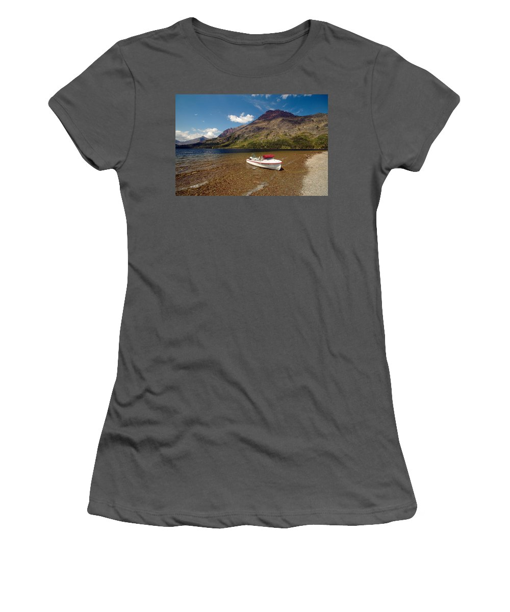 Moutains Women's T-Shirt (Athletic Fit) featuring the photograph Moutain Lake by Sebastian Musial