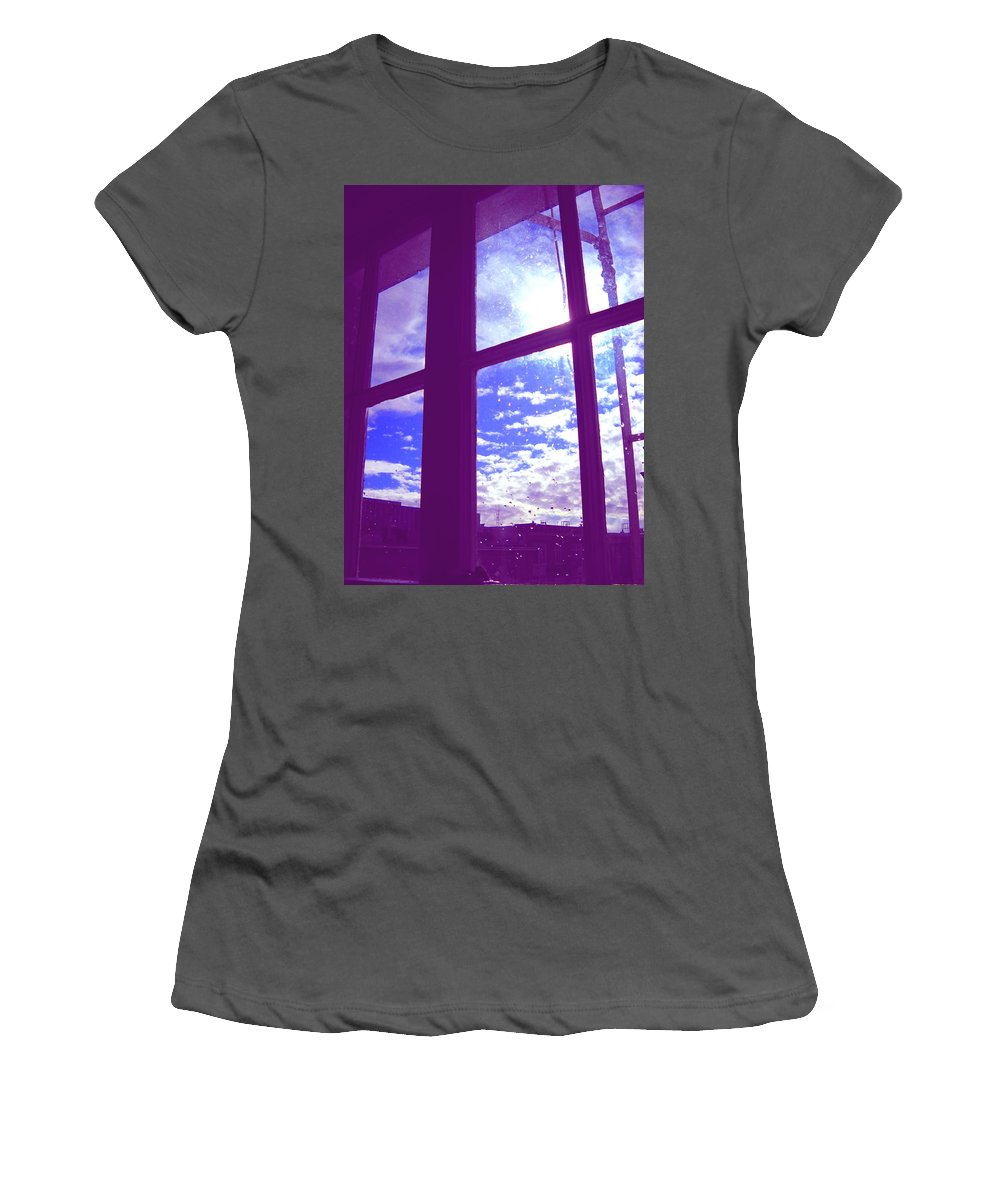 Moveonart Digital Gallery San Francisco California Lower Nob Hill Jacob Kane Kanduch Women's T-Shirt (Athletic Fit) featuring the photograph Moveonart Window Watching Series 4 by Jacob Kanduch