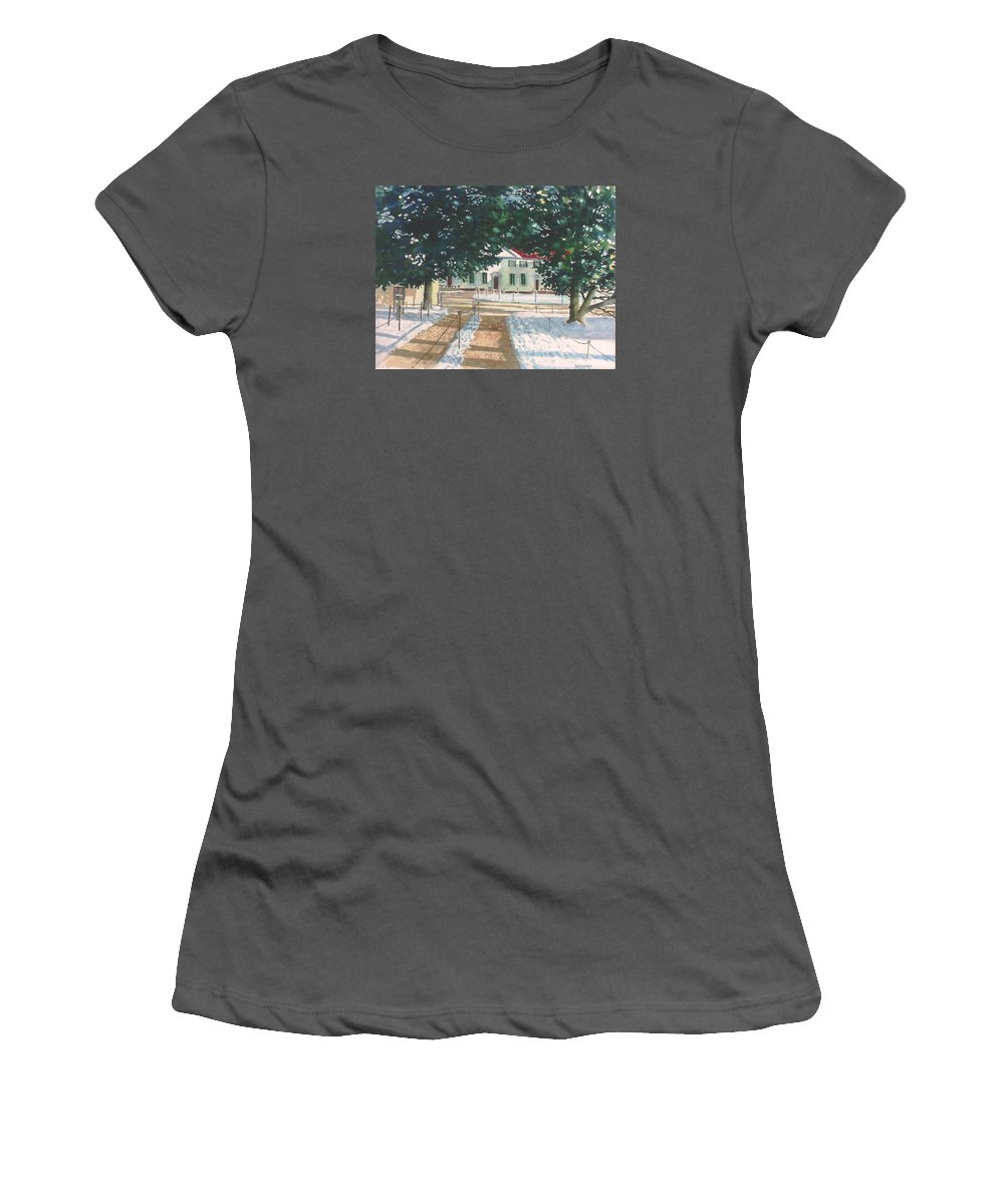 Landscape Women's T-Shirt (Athletic Fit) featuring the painting Mt. Vernon After The Visitors Have All Gone Home by Tom Harris