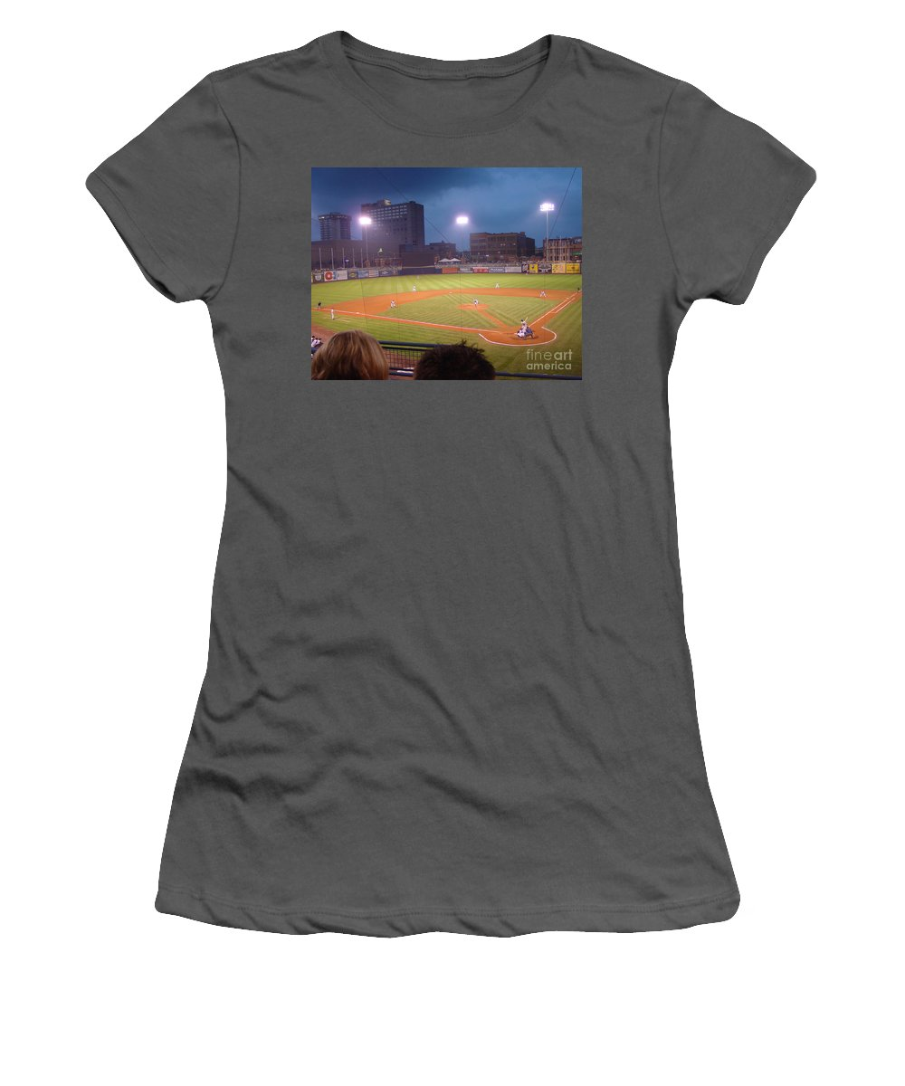 Toledo Women's T-Shirt (Athletic Fit) featuring the photograph Mudhen's Game by Jack Schultz
