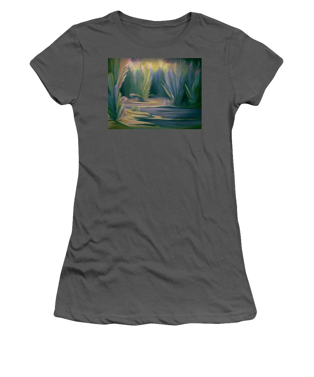 Feathers Women's T-Shirt (Athletic Fit) featuring the painting Mural Field Of Feathers by Nancy Griswold