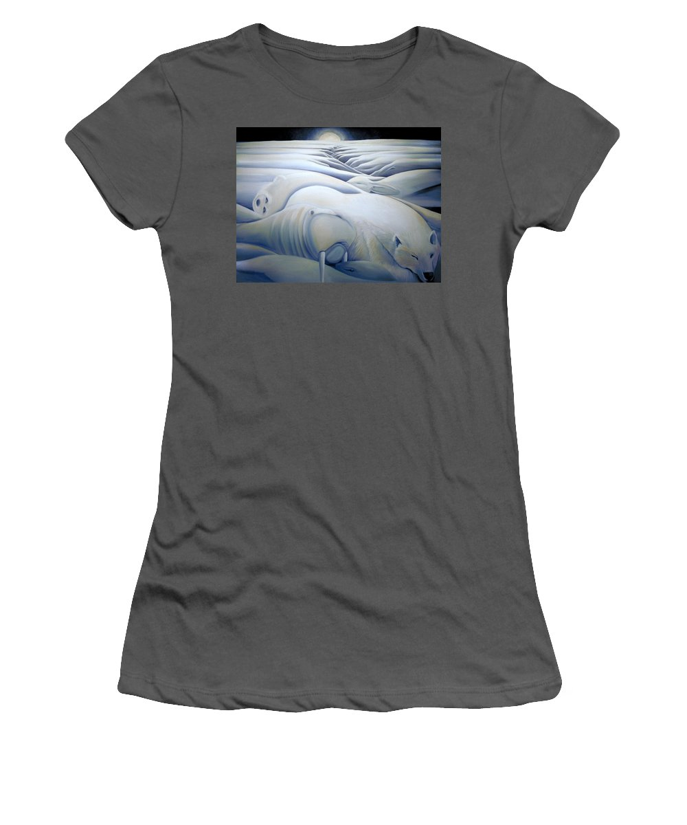 Mural Women's T-Shirt (Athletic Fit) featuring the painting Mural Winters Embracing Crevice by Nancy Griswold