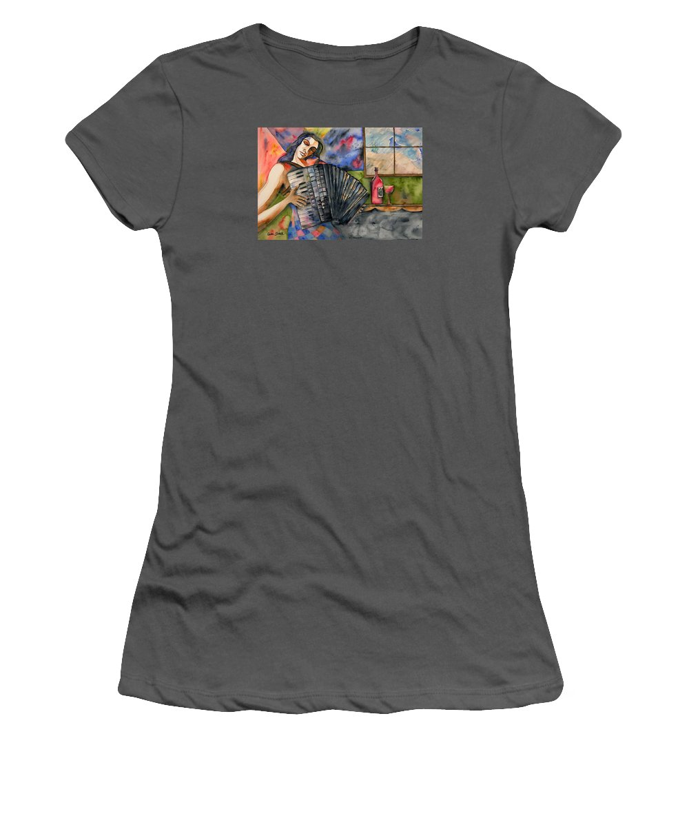 Music Women's T-Shirt (Athletic Fit) featuring the painting Music And Wine by Guri Stark