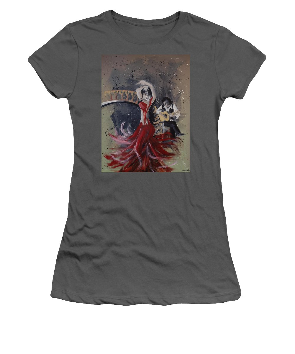 Dance Women's T-Shirt (Athletic Fit) featuring the painting Musica Espaniol by Kelly Jade King