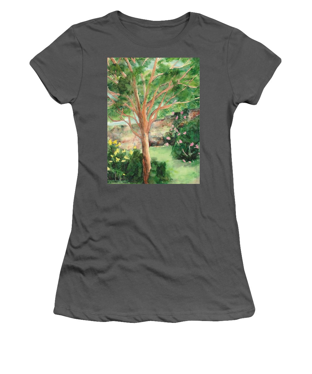 Landscape Women's T-Shirt (Athletic Fit) featuring the painting My Backyard by Vicki Housel