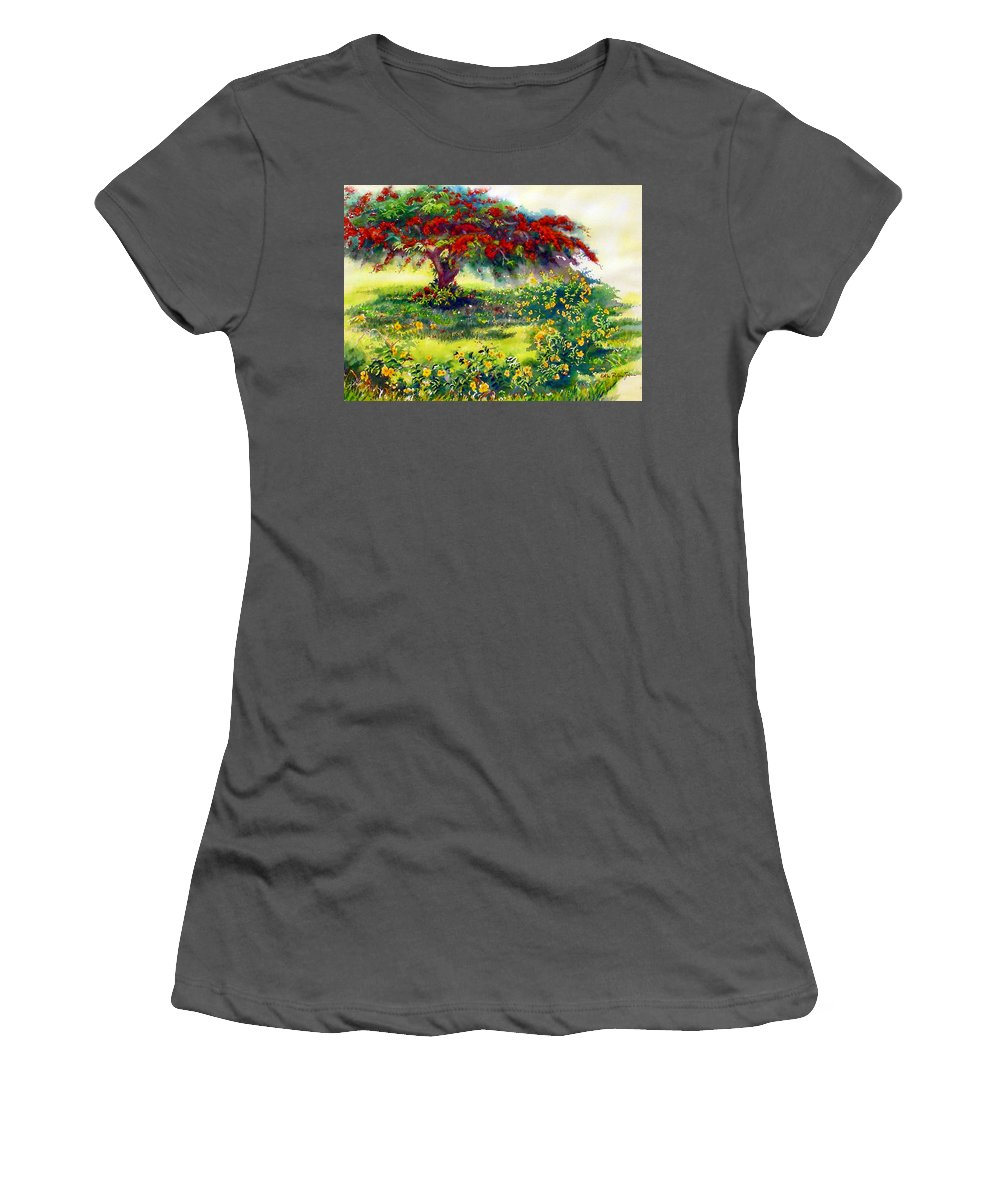 Watercolor Paintings Women's T-Shirt (Athletic Fit) featuring the painting My Flamboyant Tree by Estela Robles