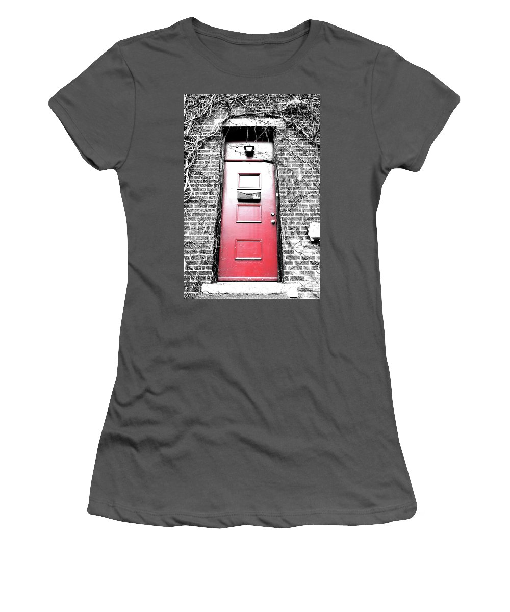 Red Door Women's T-Shirt (Athletic Fit) featuring the photograph My Little Red Door by Nichole May