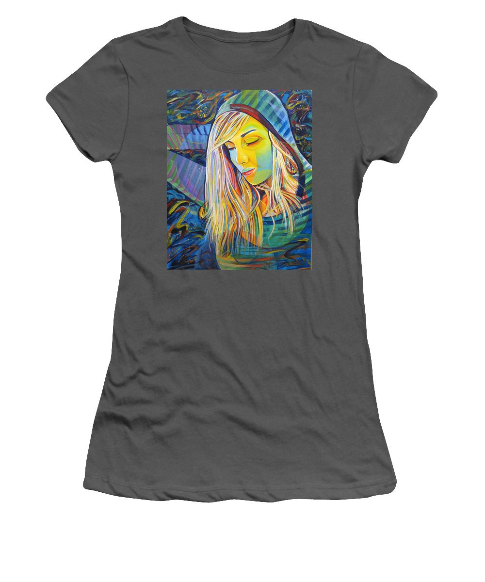 Colorful Women's T-Shirt (Athletic Fit) featuring the painting My Love by Joshua Morton