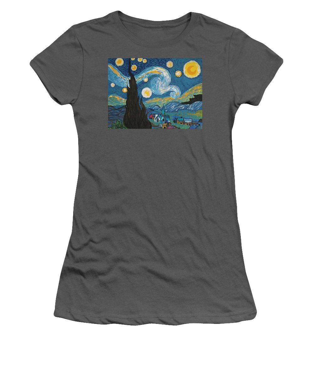 Vincent Women's T-Shirt (Athletic Fit) featuring the painting My Starry Nite by Angela Miles Varnado