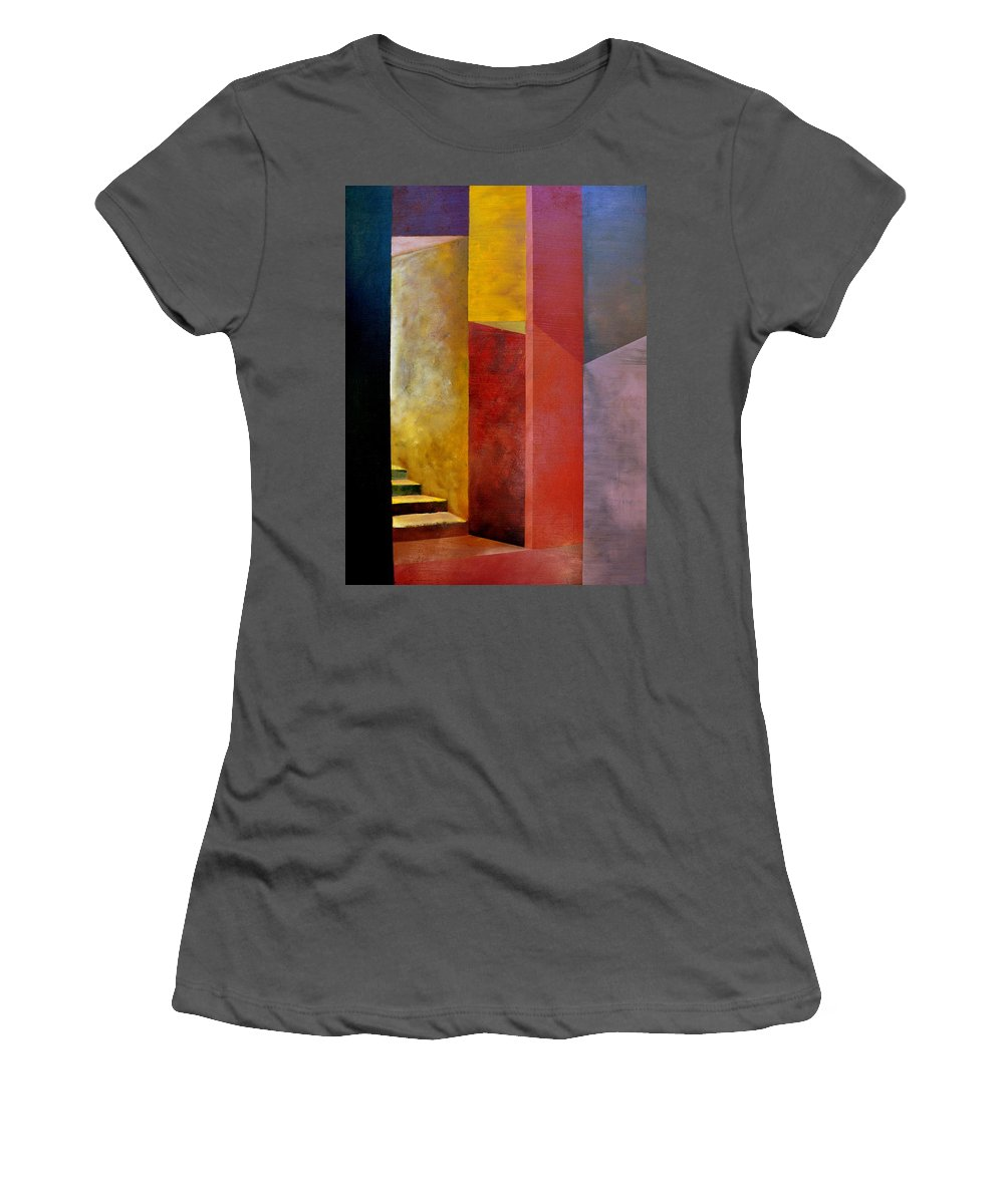 Gold Women's T-Shirt (Athletic Fit) featuring the painting Mystery Stairway by Michelle Calkins