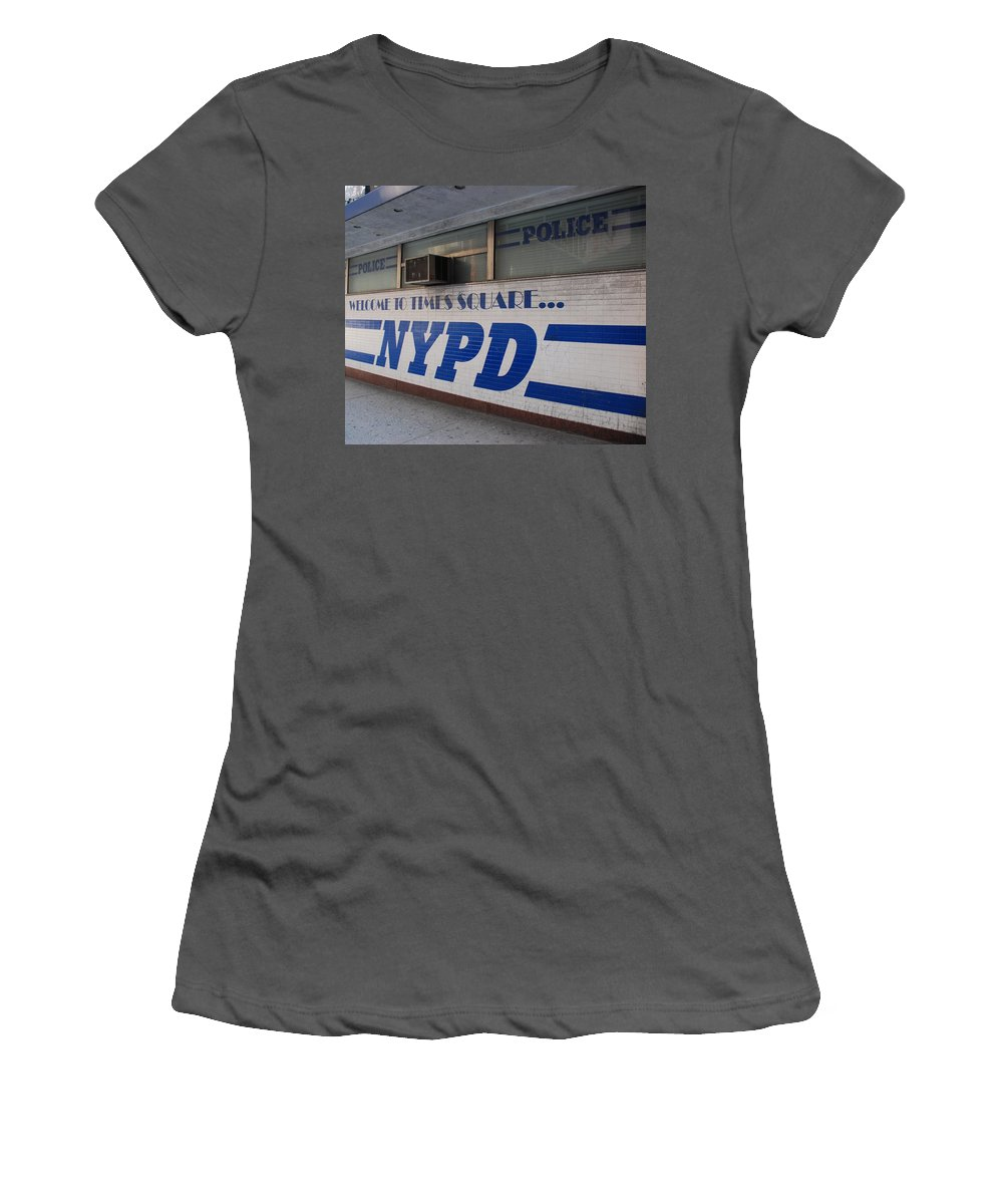 Nypd Women's T-Shirt (Athletic Fit) featuring the photograph N Y P D Blue by Rob Hans