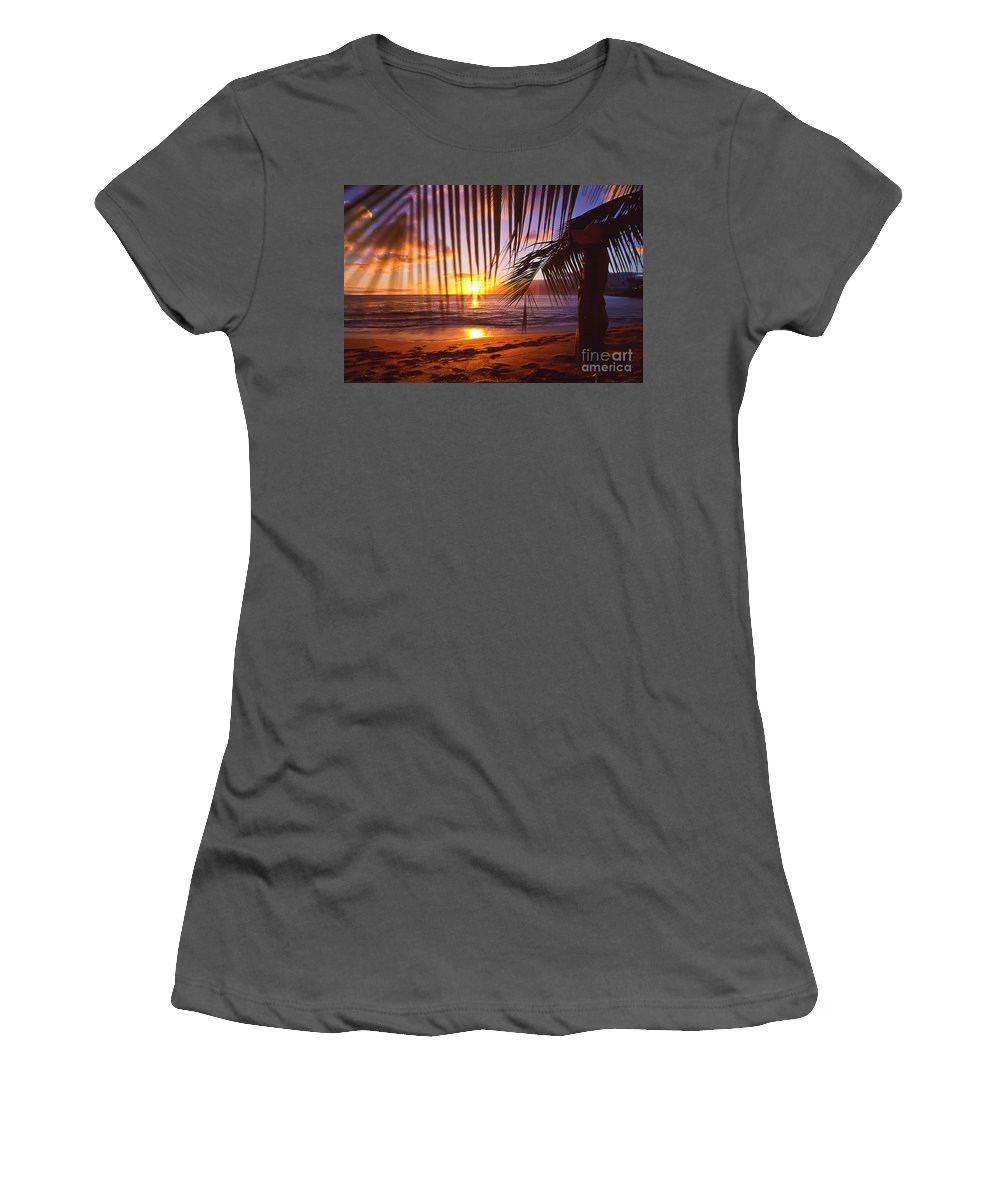 Sunset Women's T-Shirt (Athletic Fit) featuring the photograph Napili Bay Sunset Maui Hawaii by Jim Cazel