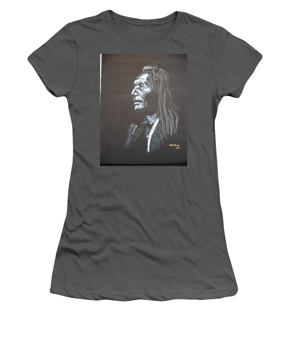 Indian Women's T-Shirt (Athletic Fit) featuring the painting Native American by Richard Le Page