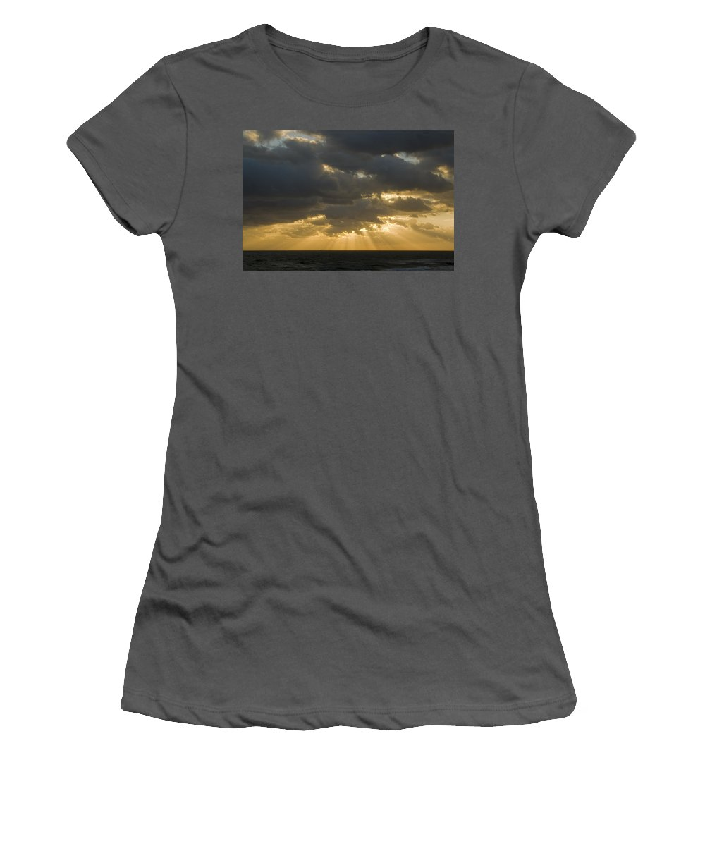 Ocean Sunset Sun Cloud Clouds Ray Rays Beam Beams Bright Wave Waves Water Sea Beach Golden Nature Women's T-Shirt (Athletic Fit) featuring the photograph New Beginning by Andrei Shliakhau