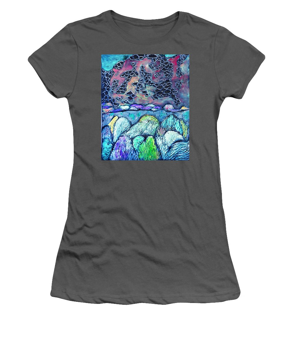Landscape Women's T-Shirt (Athletic Fit) featuring the painting New Mexico Landscape by Wayne Potrafka