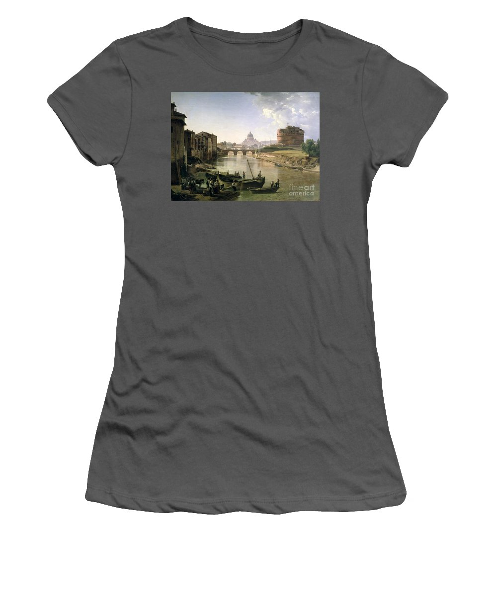 River Tiber Women's T-Shirt (Athletic Fit) featuring the painting New Rome With The Castel Sant Angelo by Silvestr Fedosievich Shchedrin
