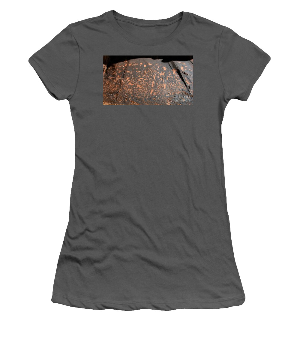 Newspaper Rock State Park Utah Women's T-Shirt (Athletic Fit) featuring the photograph Newspaper Rock by David Lee Thompson