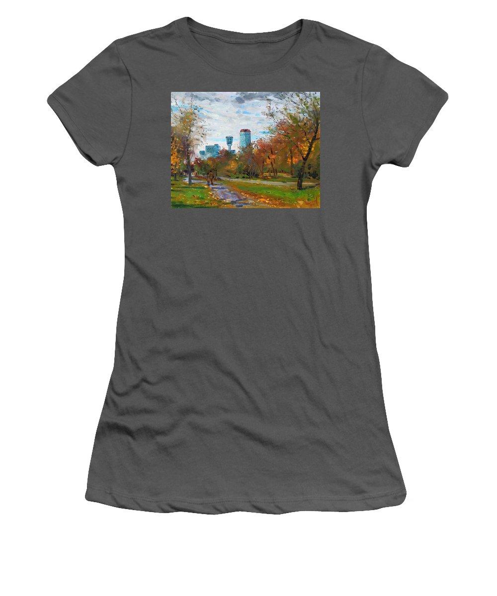 Niagara Falls Park Women's T-Shirt (Athletic Fit) featuring the painting Niagara Falls Park by Ylli Haruni