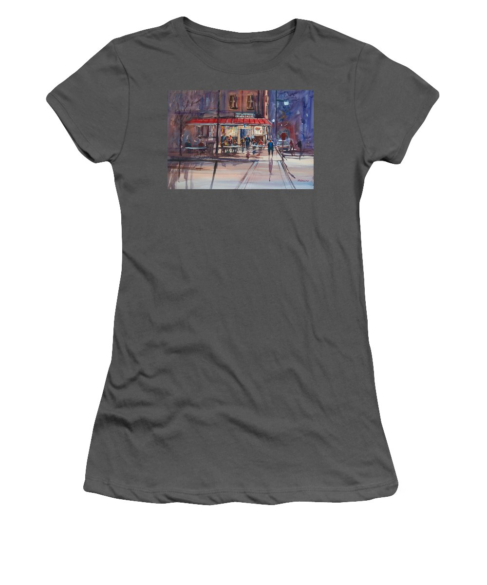 Street Scene Women's T-Shirt (Athletic Fit) featuring the painting Night Cafe by Ryan Radke
