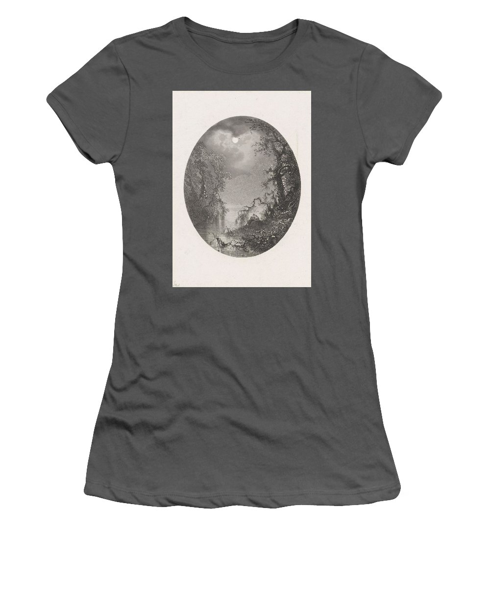Nature Women's T-Shirt (Athletic Fit) featuring the painting Nightscapes, Dirk Jurriaan Sluyter, After Johannes Hilverdink In Or Before 1870 by Johannes Hilverdink