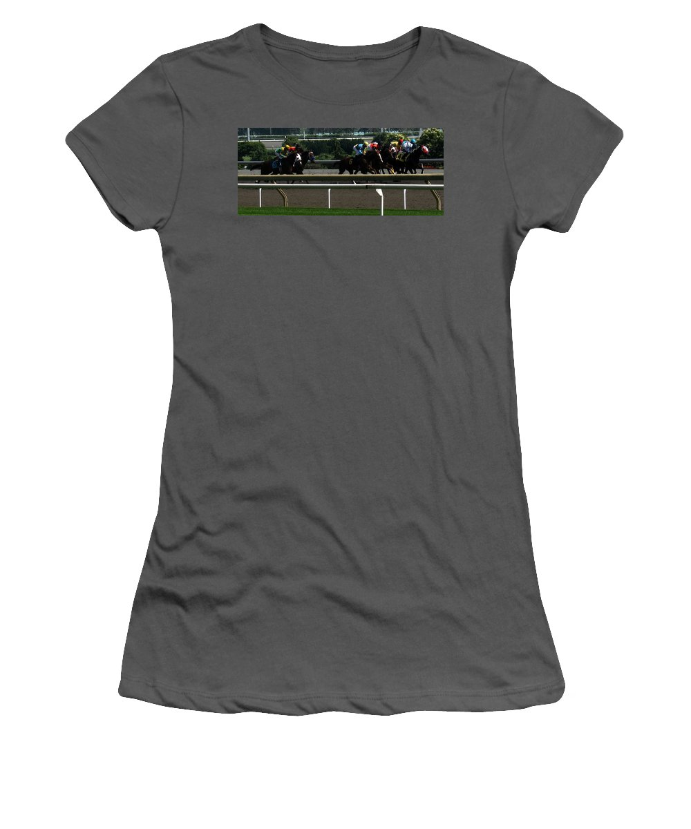 Horse Women's T-Shirt (Athletic Fit) featuring the photograph Nine Coming Up On The Outside by Ian MacDonald