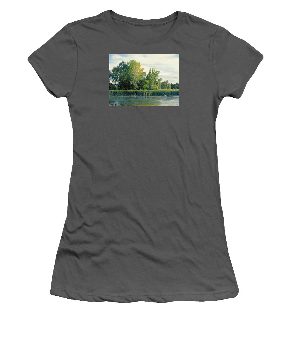 Great Egret Women's T-Shirt (Athletic Fit) featuring the drawing North Of The Grade-great Egret by Bruce Morrison