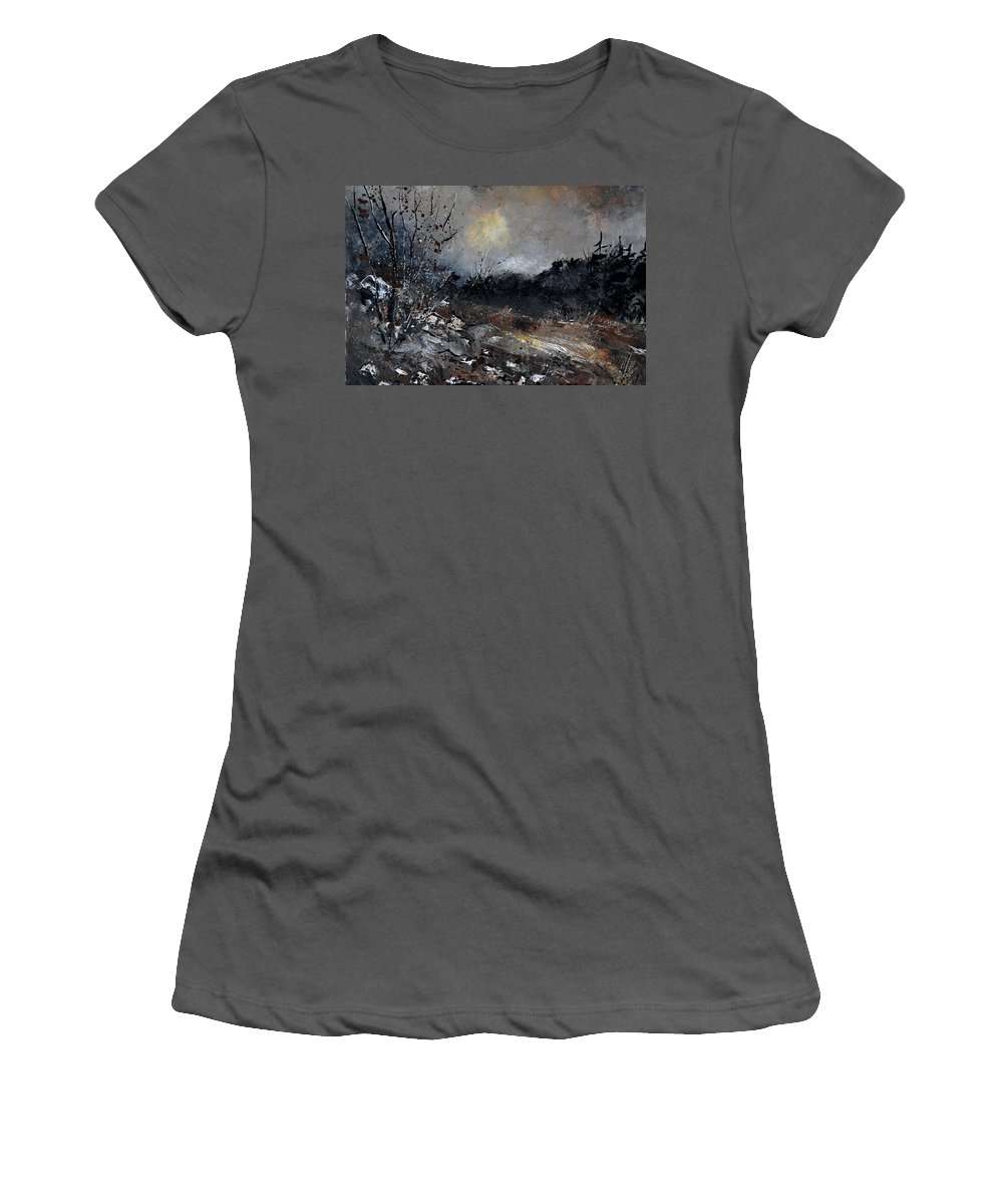 Landscape Women's T-Shirt (Athletic Fit) featuring the painting November 1110 by Pol Ledent