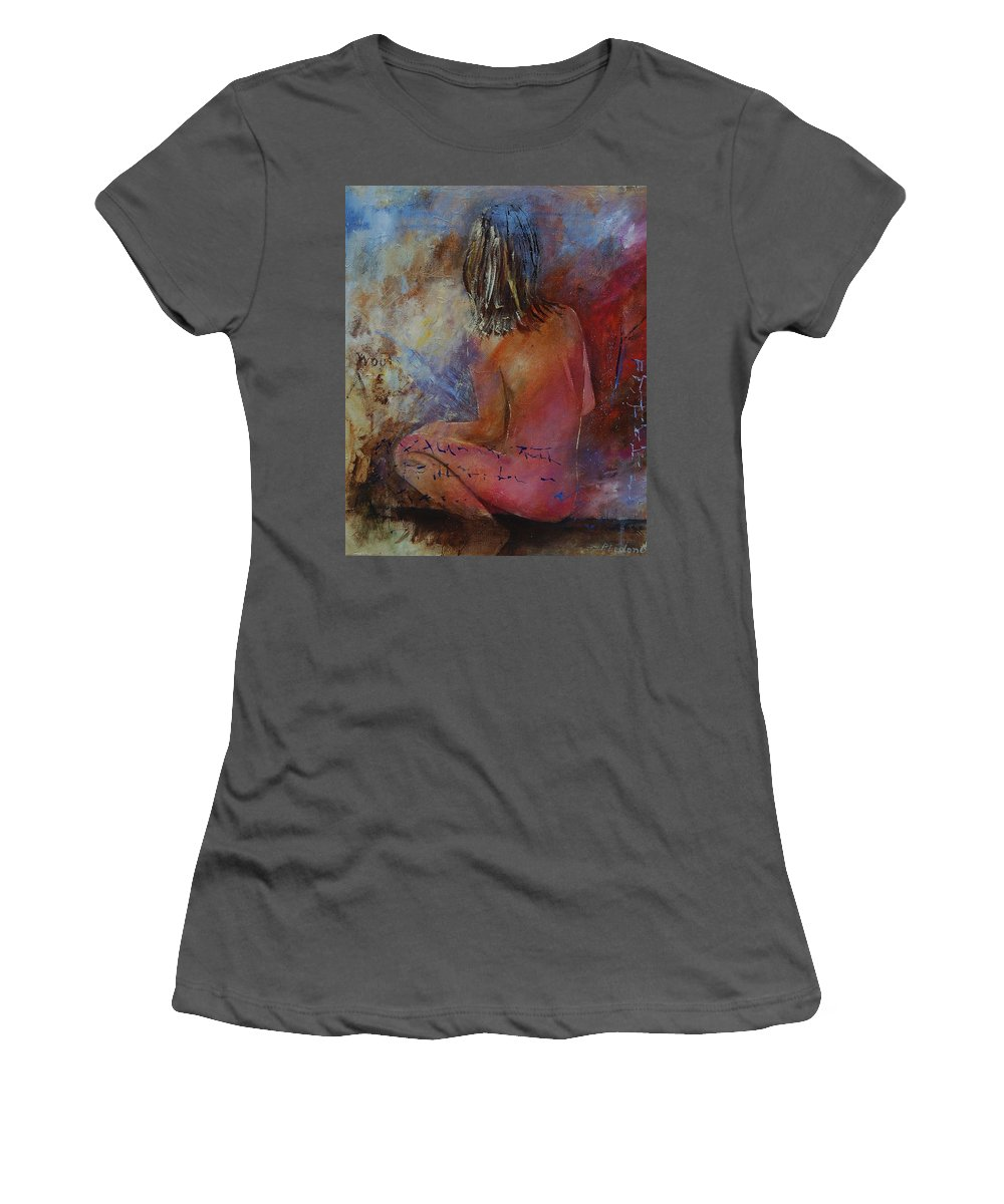 Nude Women's T-Shirt (Athletic Fit) featuring the painting Nude 569090 by Pol Ledent