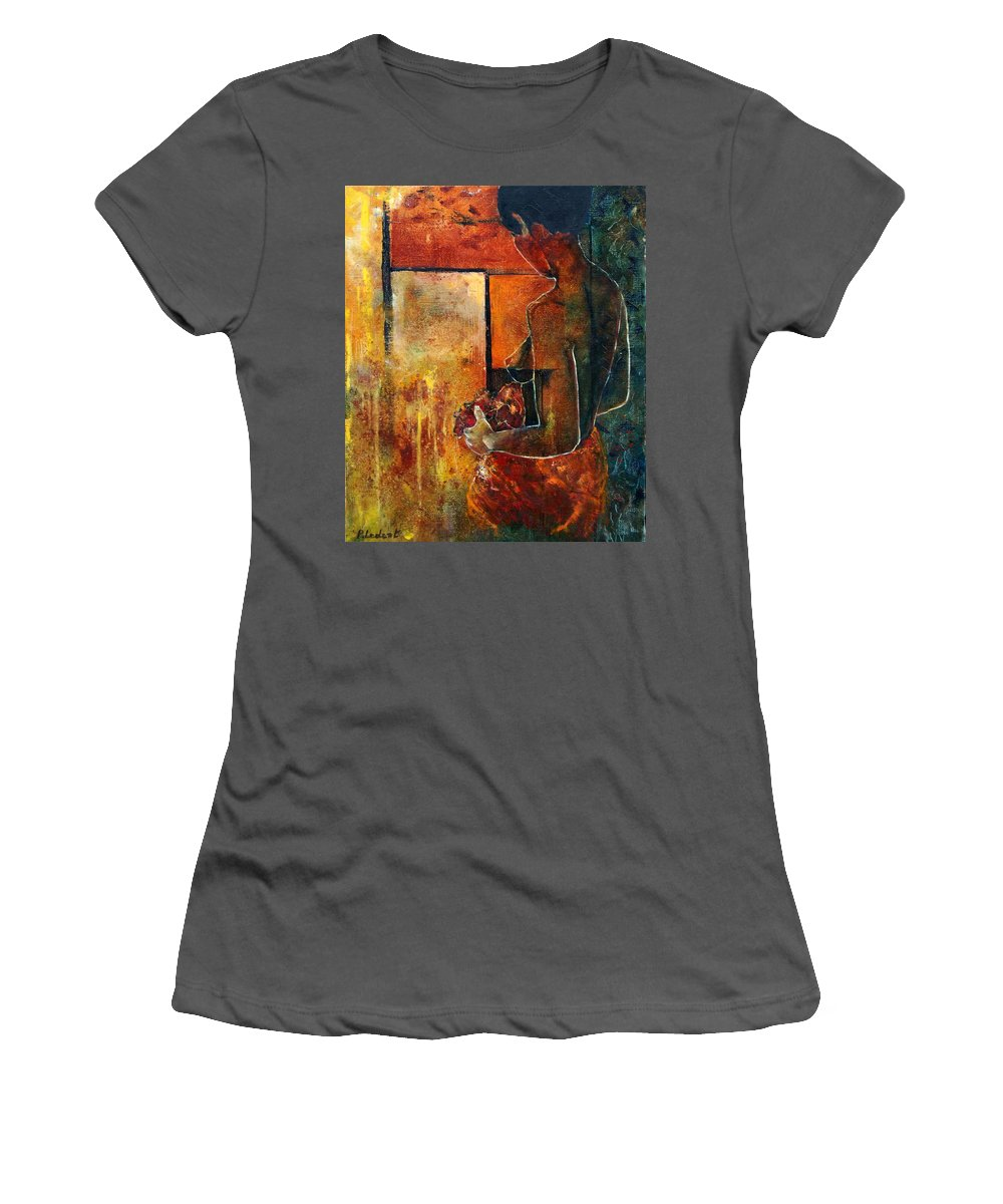 Woman Girl Fashion Nude Women's T-Shirt (Athletic Fit) featuring the painting Nude by Pol Ledent