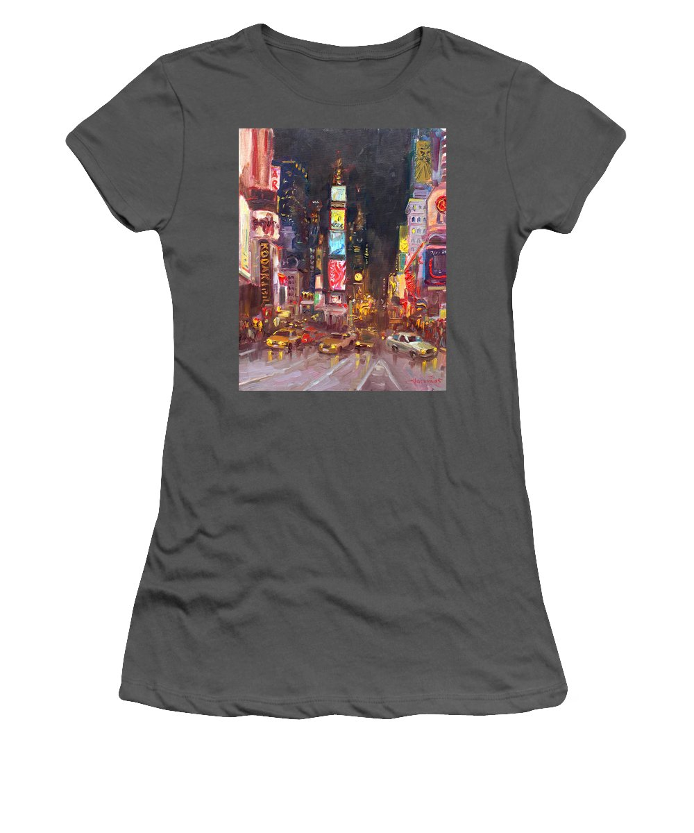 New York City Women's T-Shirt (Athletic Fit) featuring the painting Nyc Times Square by Ylli Haruni