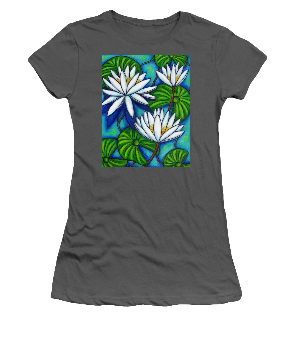 Lily Women's T-Shirt (Athletic Fit) featuring the painting Nymphaea Blue by Lisa Lorenz