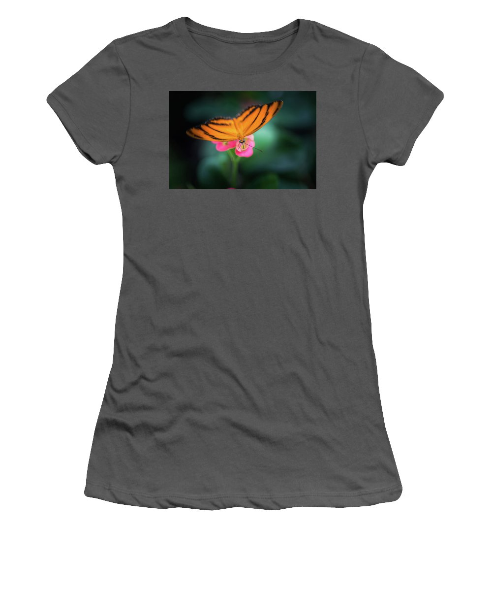 Butterfly Women's T-Shirt (Athletic Fit) featuring the photograph Oak Tiger Butterfly- 2 by Calazone's Flics