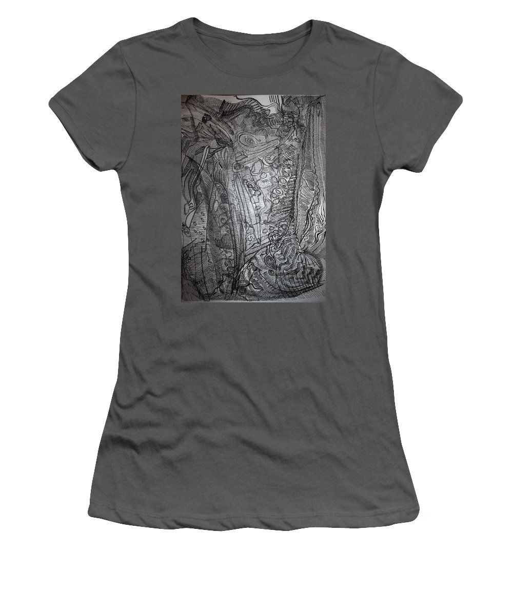 Observer Women's T-Shirt (Athletic Fit) featuring the drawing Observer by Gloria Ssali