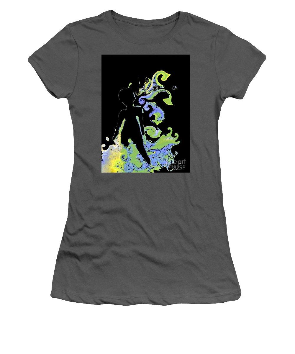 Ocean Women's T-Shirt (Athletic Fit) featuring the digital art Ocean by Shelley Jones