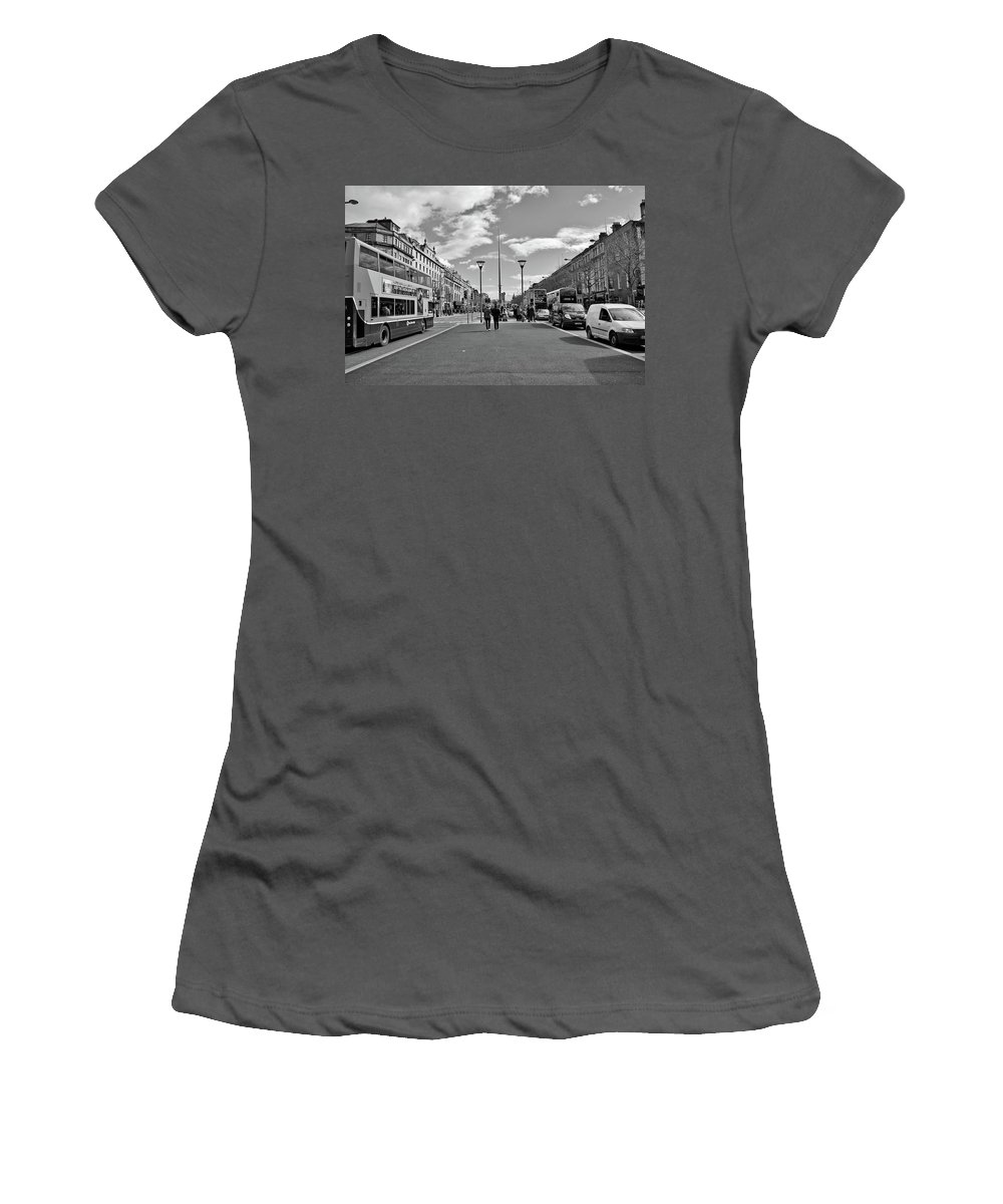 O'connell Street Women's T-Shirt (Athletic Fit) featuring the photograph O'connell Street In Dublin by Marisa Geraghty Photography