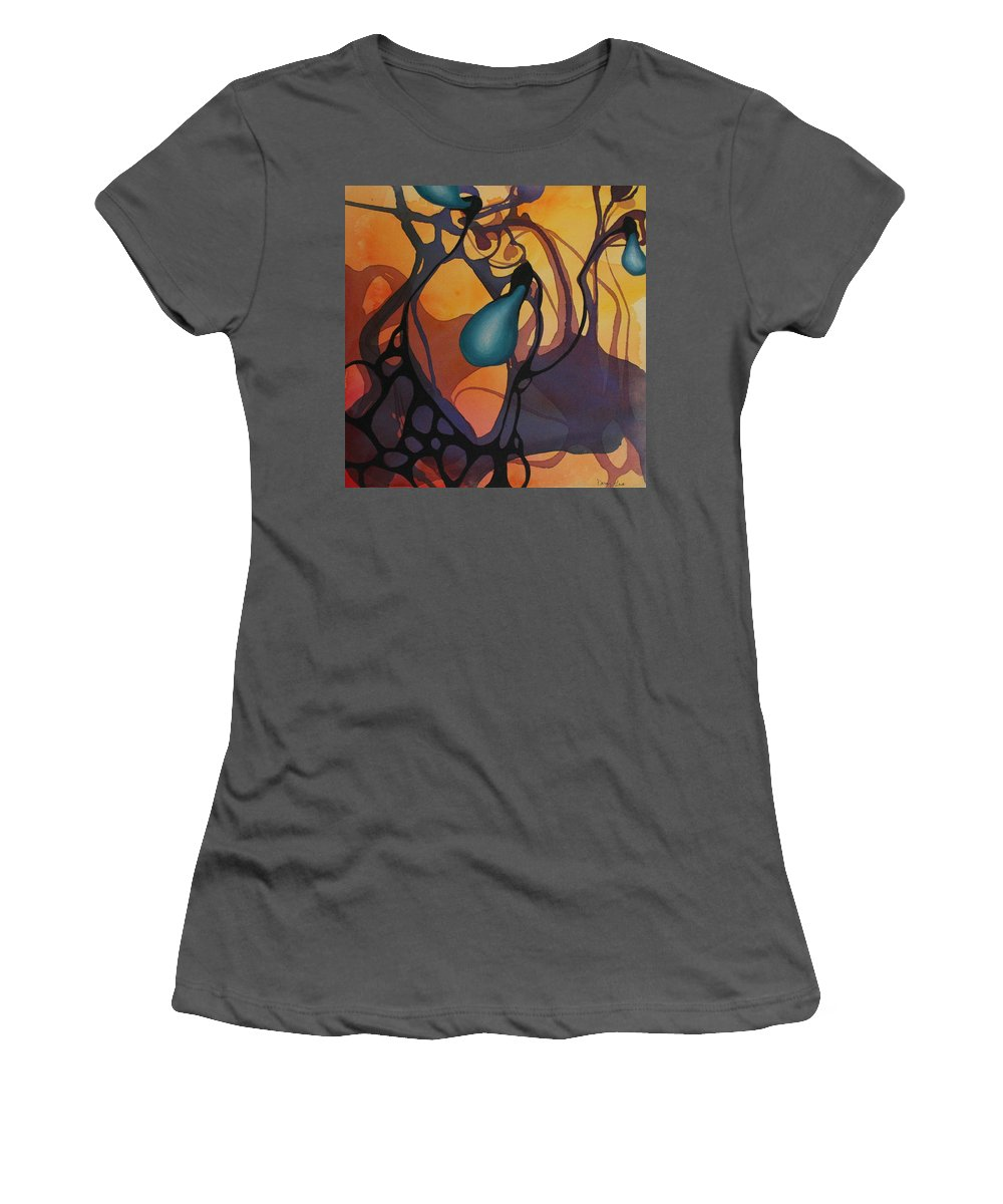 Non Representational Women's T-Shirt (Athletic Fit) featuring the painting Off Stepping by Darcy Lee Saxton