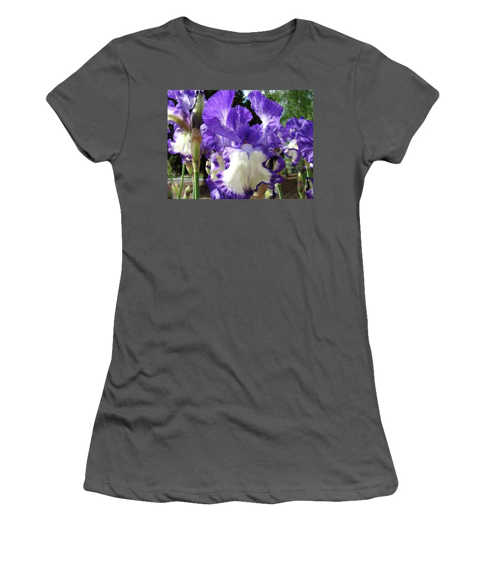Floral Women's T-Shirt (Athletic Fit) featuring the photograph Office Art Prints Irises Purple White Iris Flowers 39 Giclee Prints Baslee Troutman by Baslee Troutman